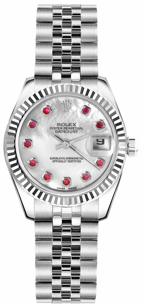 Rolex Lady-Datejust 26 Mother of Pearl Ruby Dial Watch 179174
