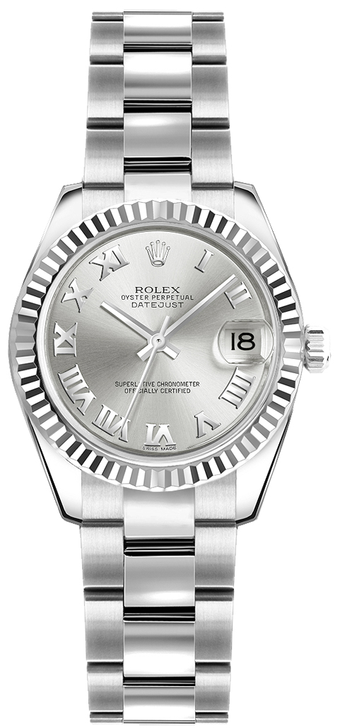 Rolex_Lady-Datejust_26_Silver_Roman_Numeral_Oyster_Bracelet_Watch_179174