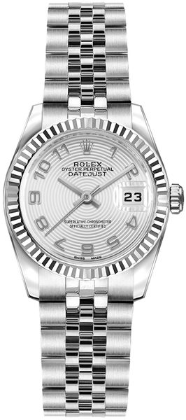 Rolex Lady-Datejust 26 Women's White Gold Fluted Bezel Watch 179174