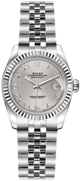 Rolex Lady-Datejust 26 Silver Roman Numeral Dial Ladies Watch 179174