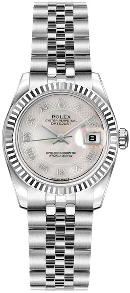 Rolex Lady-Datejust 26 Pink Mother of Pearl Roman Numeral Watch 179174