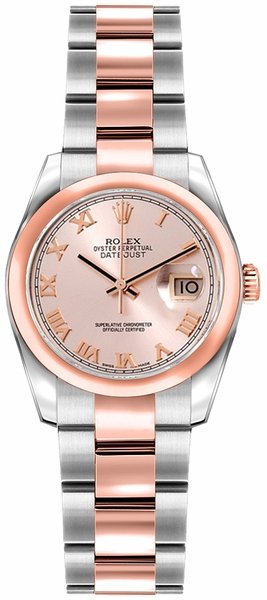 Rolex Lady-Datejust 26 Pink Roman Numeral Dial Gold & Steel Watch 179161