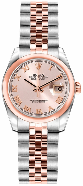 Rolex Lady-Datejust 26 Pink Roman Numeral Dial Rose Gold & Steel Watch 179161
