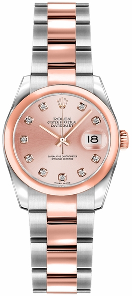Rolex Lady-Datejust 26 Pink Diamond Rose Gold & Steel Watch 179161