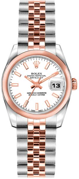 Rolex Lady-Datejust 26 White Dial Rose Gold & Steel Watch 179161