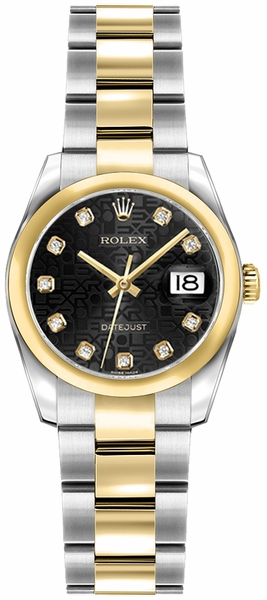 Rolex Lady-Datejust 26 Diamond Gold & Steel Watch 179163