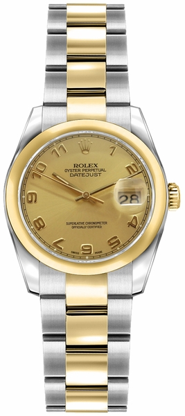 Rolex Lady-Datejust 26 Champagne Dial Diamond Watch 179163