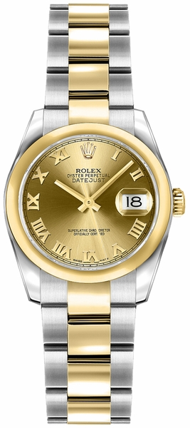 Rolex Lady-Datejust 26 Champagne Roman Numeral Dial Watch 179163
