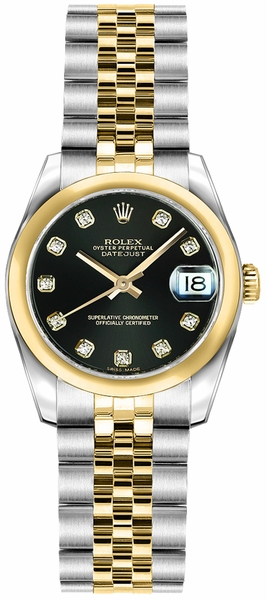 Rolex Lady-Datejust 26 Black Diamond Dial Watch 179163