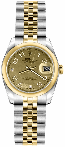 Rolex Lady-Datejust 26 Solid Gold Domed Bezel Watch 179163