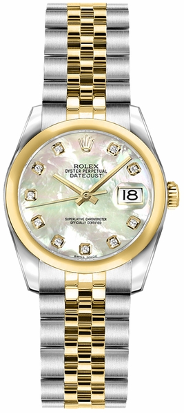 Rolex Lady-Datejust 26 Mother of Pearl Diamond Women's Watch 179163