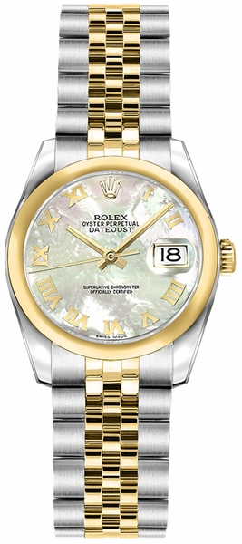 Rolex Lady-Datejust 26 Mother of Pearl Roman Numeral Dial Watch 179163