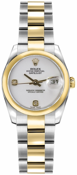 Rolex Lady-Datejust 26 White Dial Diamond Women's Watch 179163