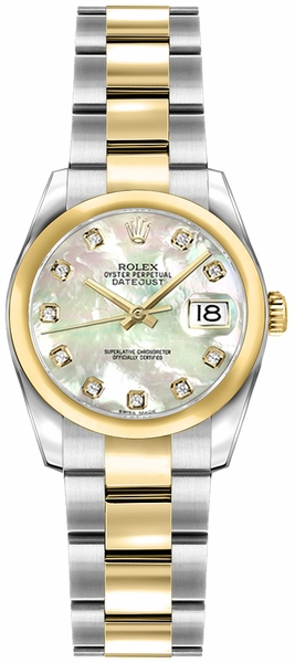 Rolex Lady-Datejust 26 Diamond Mother of Pearl Dial Watch 179163