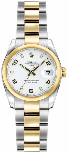 Rolex Lady-Datejust 26 White Dial Yellow Gold & Steel Watch 179163