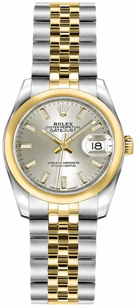 Rolex Lady-Datejust 26 Silver Dial Watch 179163