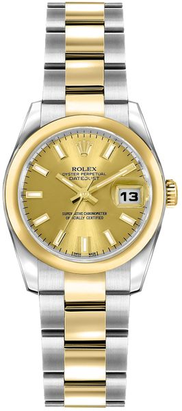 Rolex Lady-Datejust 26 Champagne Dial Gold & Steel Watch 179163