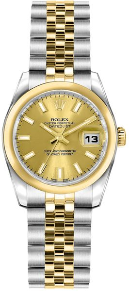 Rolex Lady-Datejust 26 Steel & Gold Champagne Dial Watch 179163