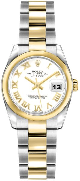 Rolex Lady-Datejust 26 White Roman Numeral Dial Watch 179163