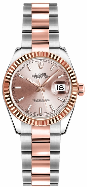 Rolex Lady-Datejust 26 Pink Dial Oyster Bracelet Watch 179171