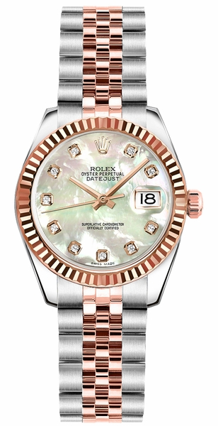 Rolex Lady-Datejust 26 Mother of Pearl Diamond Dial Watch 179171