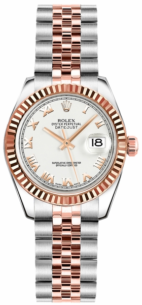 Rolex Lady-Datejust 26 Roman Numeral White Dial Watch 179171
