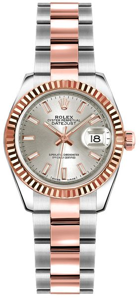 Rolex Lady-Datejust 26 Solid Gold Fluted Bezel Watch 179171