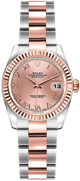 Rolex Lady-Datejust 26 Pink Roman Numeral Dial Watch 179171