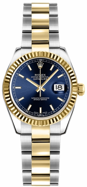 Rolex Lady-Datejust 26 Blue Dial Oyster Bracelet Watch 179173