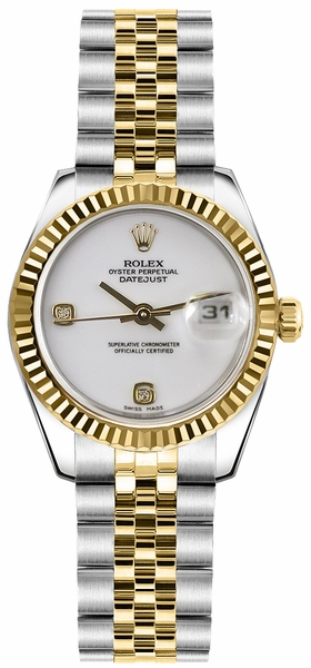 Rolex Lady-Datejust 26 White Diamond Dial Jubilee Bracelet Watch 179173