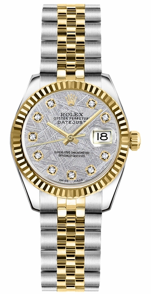 Rolex Lady-Datejust 26 Solid Gold Fluted Bezel Diamond Watch 179173