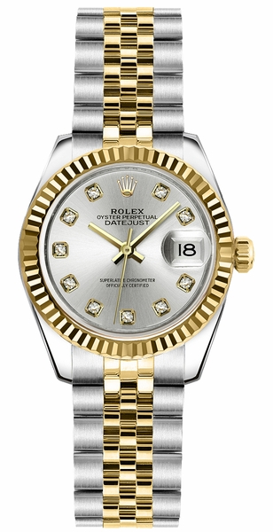 Rolex Lady-Datejust 26 Silver Diamond Watch 179173