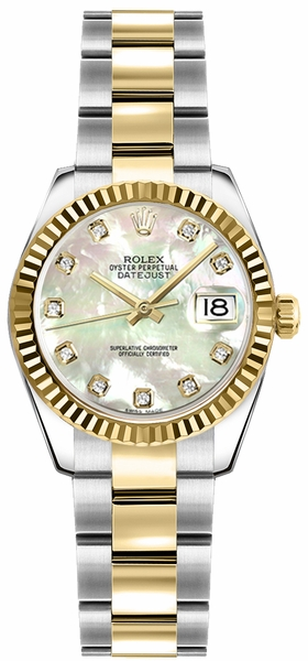 Rolex Lady-Datejust 26 Mother of Pearl Diamond Oyster Bracelet Watch 179173