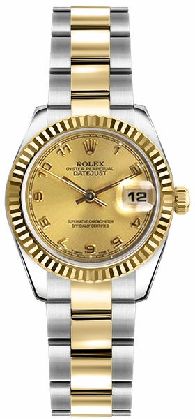 Rolex Lady-Datejust 26 Champagne Dial Steel & Gold Watch 179173