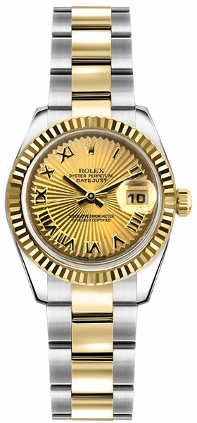 Rolex Lady-Datejust 26 Solid 18K Gold Fluted Bezel Watch 179173