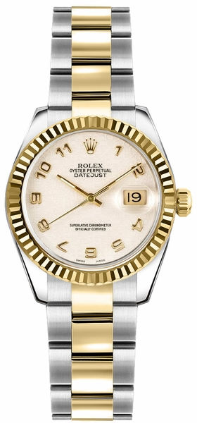 Rolex Lady-Datejust 26 Ivory Dial Fluted Bezel Watch 179173