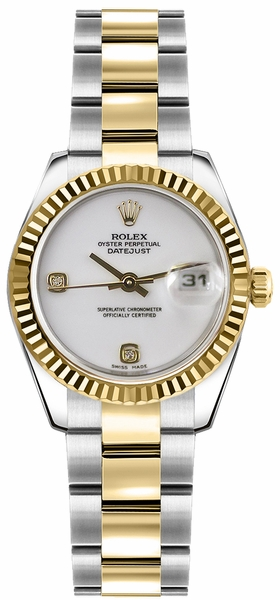 Rolex Lady-Datejust 26 White Dial Gold & Steel Watch 179173