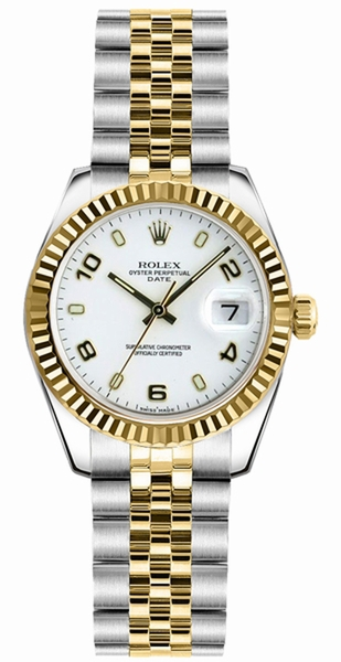 Rolex Lady-Datejust 26 White Dial Women's Automatic Watch 179173