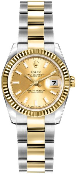 Rolex Lady-Datejust 26 Champagne Dial Oyster Bracelet Watch 179173