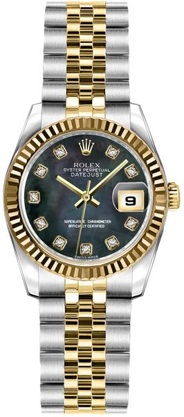 Rolex Lady-Datejust 26 Solid 18K Yellow Gold & Steel Watch 179173