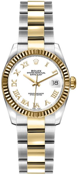 Rolex Lady-Datejust 26 White Roman Numeral Dial Watch 179173