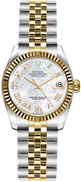 Rolex Lady-Datejust 26 Mother of Pearl Roman Numeral Dial Watch 179173