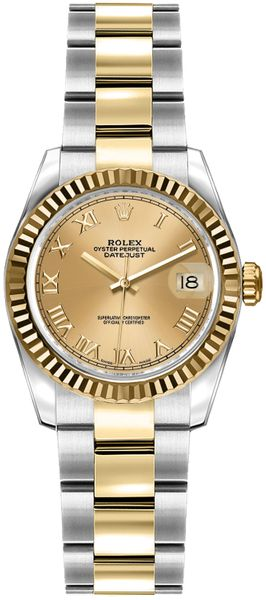 Rolex Lady-Datejust 26 Oyster Bracelet Roman Numeral Dial Watch 179173