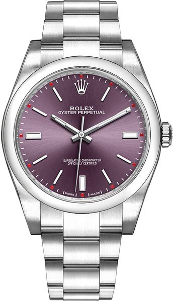 Rolex Oyster Perpetual 39 Red Grape Dial Steel Men's Watch 114300-0002