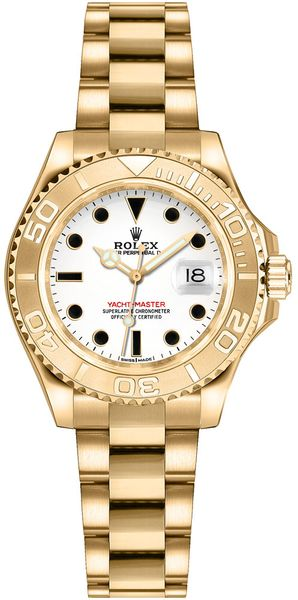Rolex Yacht-Master 29 White Dial Yellow Gold Watch 169628