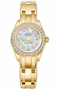 Rolex Pearlmaster Solid 18k Yellow Gold Diamond Women's Watch 80298