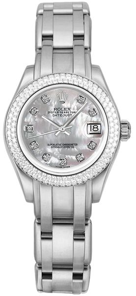 Rolex Pearlmaster Mother of Pearl Diamond Dial Women's Watch 81339