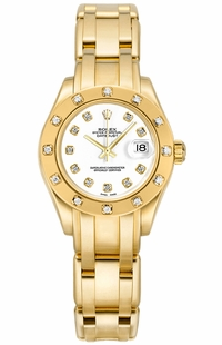 Rolex Pearlmaster Solid Gold White Diamond Women's Watch 80318