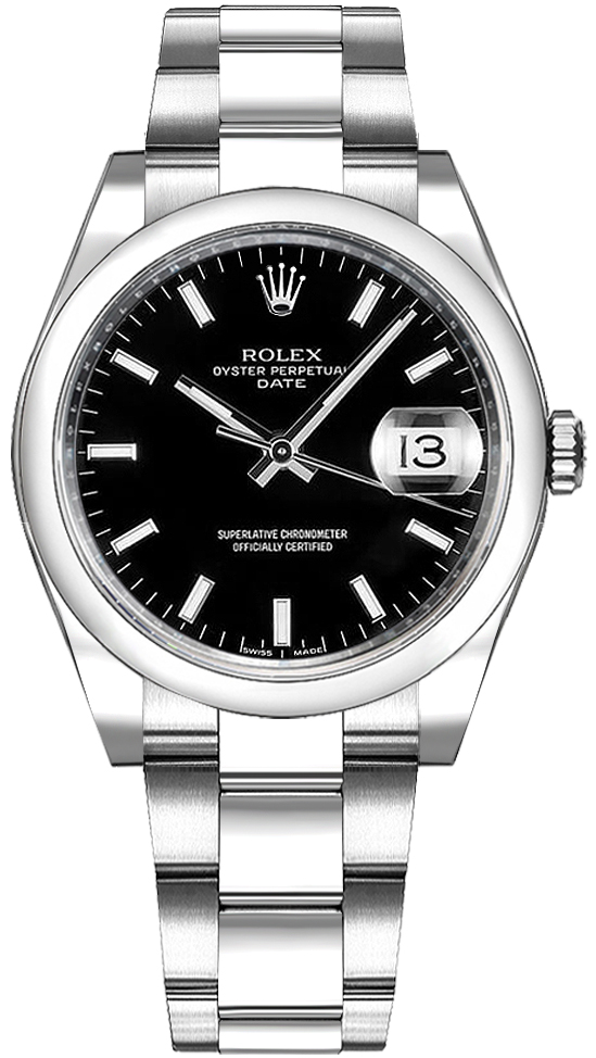 cfe4bb0b88a4 Rolex Oyster Perpetual Date 34 Black Dial Watch 115200 - image 0 ...