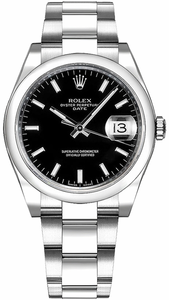 Rolex Oyster Perpetual Date 34 Black Dial Watch 115200